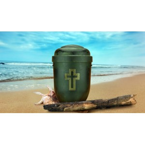 Biodegradable Cremation Ashes Funeral Urn / Casket - GREEN ROOT WOOD EFFECT with CROSS