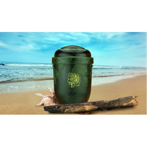Biodegradable Cremation Ashes Funeral Urn / Casket - GREEN ROOT WOOD EFFECT with ROSE BUD