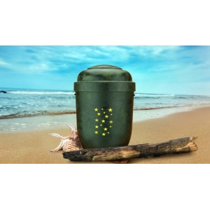 Biodegradable Cremation Ashes Funeral Urn / Casket - GREEN ROOT WOOD EFFECT with STARS