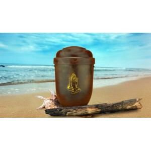 Biodegradable Cremation Ashes Funeral Urn / Casket - RED ROOT WOOD EFFECT with PRAYING HANDS