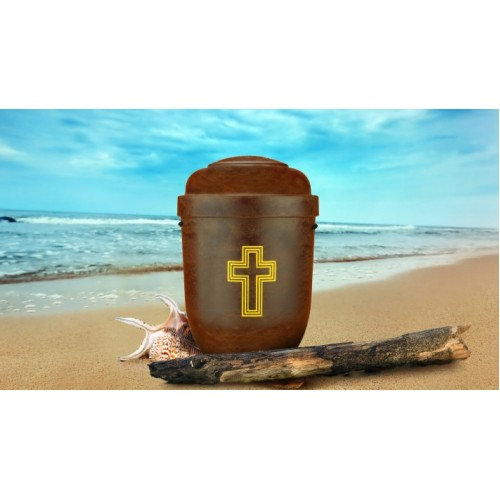 Biodegradable Cremation Ashes Funeral Urn / Casket - RED ROOT WOOD EFFECT with CROSS