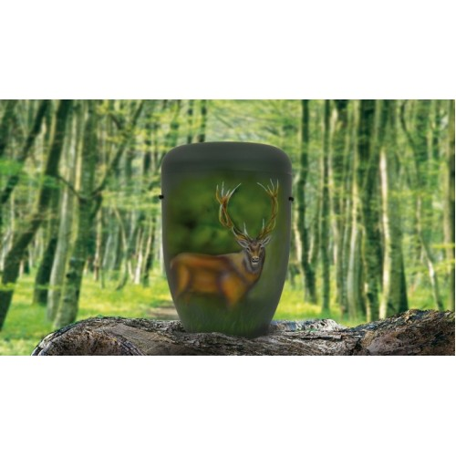 Biodegradable Cremation Ashes Funeral Urn / Casket - RED DEER (STAG)