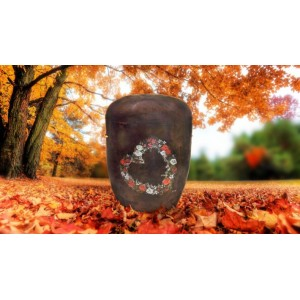 Biodegradable (Brown) Cremation Ashes Urn / Casket - FLORAL HEART WREATH