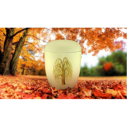Biodegradable (Cream) Cremation Ashes Urn / Casket - WEEPING WILLOW TREE