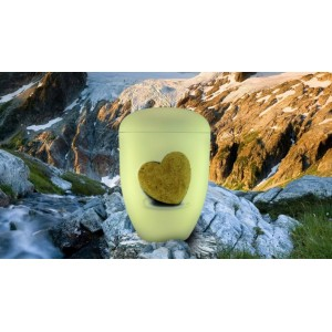 Biodegradable Cremation Ashes Funeral Urn / Casket - IVORY WHITE with RELIEF HEART Design