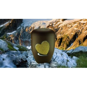 Biodegradable Cremation Ashes Funeral Urn / Casket - CHESTNUT BROWN with RELIEF HEART Design
