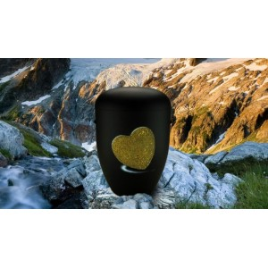 Biodegradable Cremation Ashes Funeral Urn / Casket - BLACK with RELIEF HEART Design