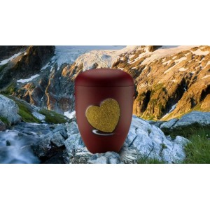 Biodegradable Cremation Ashes Funeral Urn / Casket - BORDEAUX RED with RELIEF HEART Design