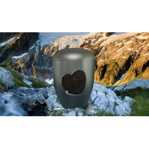 Biodegradable Cremation Ashes Funeral Urn / Casket - STEEL GREY with RELIEF HEART Design