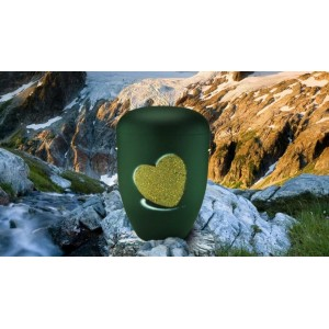 Biodegradable Cremation Ashes Funeral Urn / Casket - FERN GREEN with RELIEF HEART Design