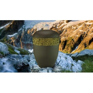 Biodegradable Cremation Ashes Funeral Urn / Casket - CHESTNUT BROWN with RELIEF BAND Design