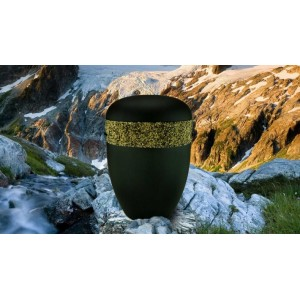 Biodegradable Cremation Ashes Funeral Urn / Casket - BLACK with RELIEF BAND Design