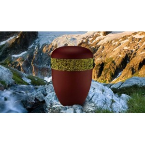 Biodegradable Cremation Ashes Funeral Urn / Casket - BORDEAUX RED with RELIEF BAND Design