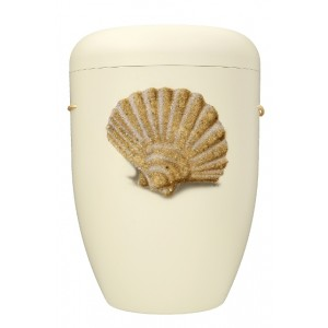 Biodegradable Cremation Ashes Funeral Urn / Casket - IVORY WHITE with SCALLOP (SHELL)