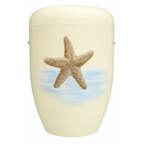 Biodegradable Cremation Ashes Funeral Urn / Casket - IVORY WHITE with STARFISH