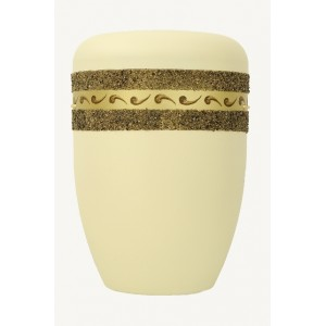 Biodegradable Cremation Ashes Funeral Urn / Casket - IVORY WHITE with ETERNAL BAND Design