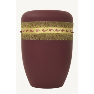 Biodegradable Cremation Ashes Funeral Urn / Casket - BORDEAUX RED with ETERNAL BAND Design