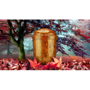 Biodegradable Cremation Ashes Funeral Urn / Casket - NATURAL WALNUT EFFECT