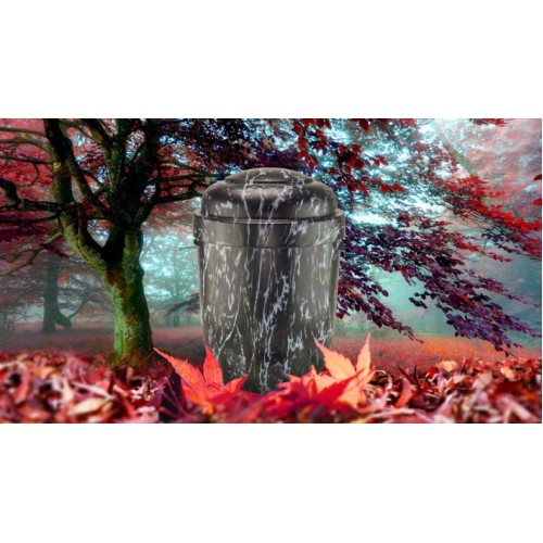 Biodegradable Cremation Ashes Funeral Urn / Casket - NATURAL MID MARBLE EFFECT