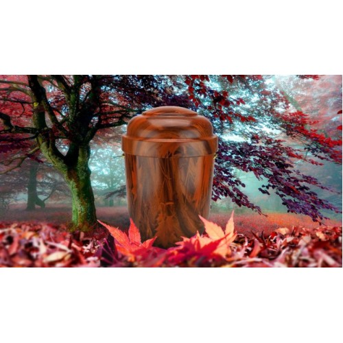 Biodegradable Cremation Ashes Funeral Urn / Casket - NATURAL OAK EFFECT (b)