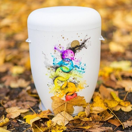 Biodegradable Cremation Ashes Funeral Urn / Casket – AUTUMN REFLECTION (Colours of Fall).