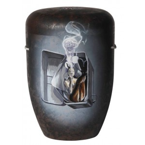 Biodegradable Cremation Ashes Funeral Urn / Casket – SMOKING CANNED (on Antique Brown)