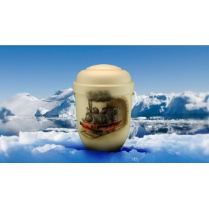 Biodegradable Cremation Ashes Funeral Urn / Casket - STEAM TRAIN