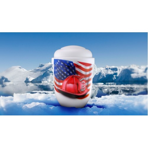 Biodegradable Cremation Ashes Funeral Urn / Casket - AMERICAN FIREFIGHTER
