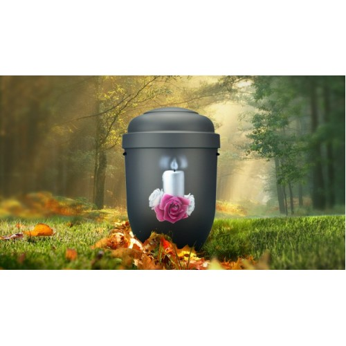 Biodegradable Cremation Ashes Funeral Urn / Casket - CANDLE & ROSARY