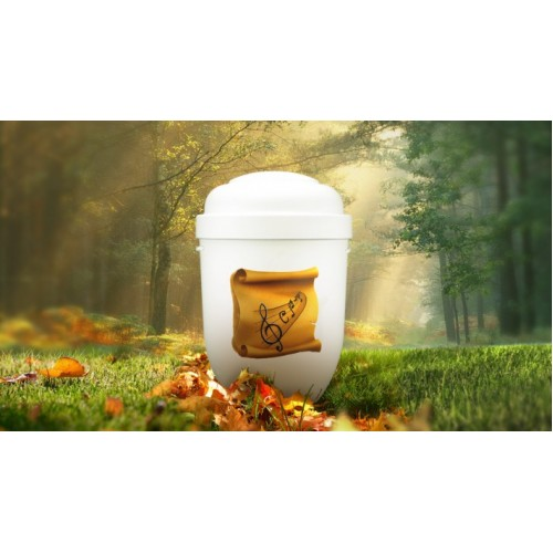 Biodegradable Cremation Ashes Funeral Urn / Casket - MUSICAL NOTES