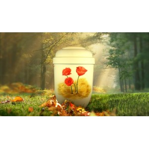 Biodegradable Cremation Ashes Funeral Urn / Casket - POPPY ART