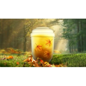 Biodegradable Cremation Ashes Funeral Urn / Casket - AUTUMN LEAVES