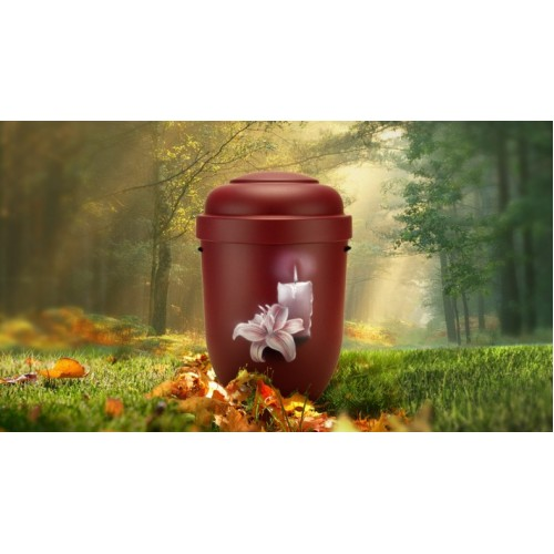 Biodegradable Cremation Ashes Funeral Urn / Casket - FLOWERING ORCHID & BURNING CANDLE