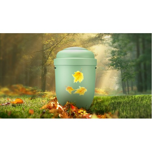 Biodegradable Cremation Ashes Funeral Urn / Casket - AUTUMN MAPLE LEAVES