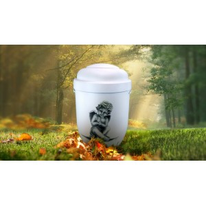 Biodegradable Cremation Ashes Funeral Urn / Casket - SITTING CHERUB
