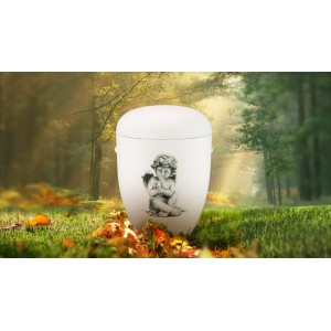 Biodegradable Cremation Ashes Funeral Urn / Casket - SITTING CHERUB (B)