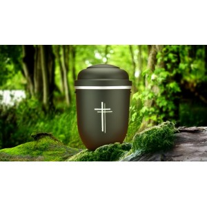 Biodegradable Cremation Ashes Funeral Urn / Casket - MONUMENT BLACK with SILVER CROSS