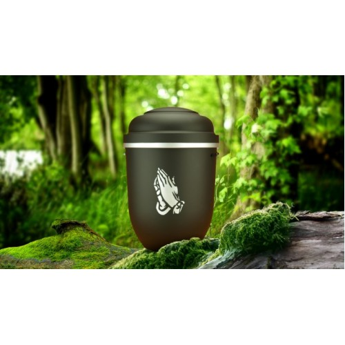 Biodegradable Cremation Ashes Funeral Urn / Casket - MONUMENT BLACK with PRAYING HANDS