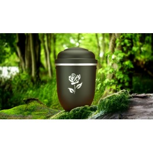 Biodegradable Cremation Ashes Funeral Urn / Casket - MONUMENT BLACK with SILVER ROSE