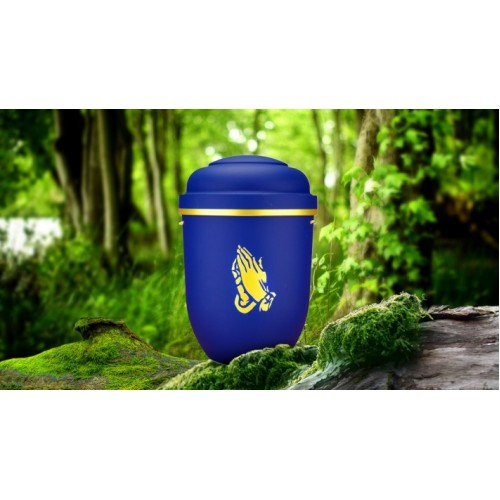 Biodegradable Cremation Ashes Funeral Urn / Casket - CELESTIAL BLUE with PRAYING HANDS
