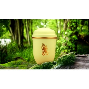Biodegradable Cremation Ashes Funeral Urn / Casket - CORNISH CREAM with HANDS IN PRAYER