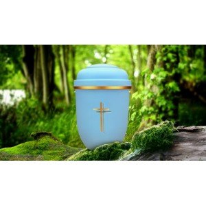 Biodegradable Cremation Ashes Funeral Urn / Casket - LIBERTY BLUE with GOLD DOUBLE CROSS