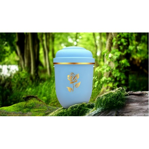 Biodegradable Cremation Ashes Funeral Urn / Casket - LIBERTY BLUE with FLORAL ROSE