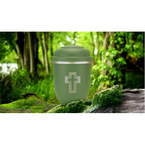 Biodegradable Cremation Ashes Funeral Urn / Casket - HIGHLAND GREEN with SILVER BLESSED CROSS
