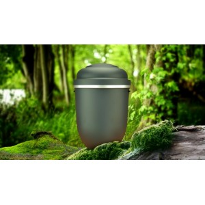 Biodegradable Cremation Ashes Funeral Urn / Casket - GALLANT GREY with SILVER BAND