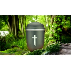 Biodegradable Cremation Ashes Funeral Urn / Casket - GALLANT GREY with SILVER CROSS