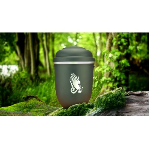 Biodegradable Cremation Ashes Funeral Urn / Casket - GALLANT GREY with SILVER PRAYING HANDS