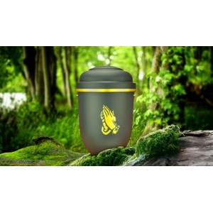 Biodegradable Cremation Ashes Funeral Urn / Casket - GALLANT GREY with GOLD HANDS IN PRAYER