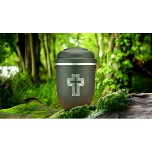 Biodegradable Cremation Ashes Funeral Urn / Casket - GALLANT GREY with SILVER BLESSED CROSS