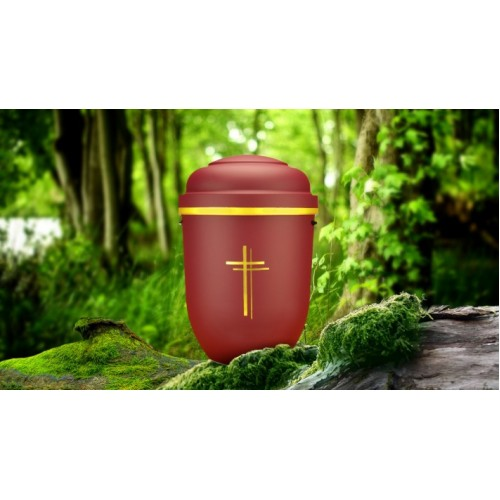 Biodegradable Cremation Ashes Funeral Urn / Casket - RED BEACON with GOLD CROSS